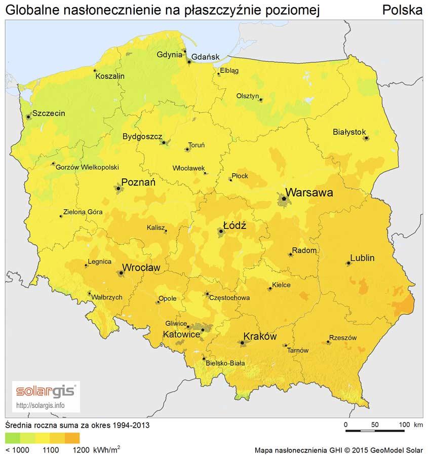 instalacje fotowoltaiczne - nasłonecznienie w Polsce
